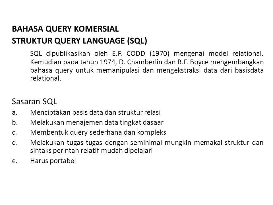 Jenis SQL : 1.Interactive SQL 2.Static SQL 3.Dynamic SQL Subdivisi SQL 1.DDL (Data Definition Language) Query-query ini digunakan untuk mendefinisikan struktur atau skema basis data 2.DML (Data Manipulation Language) Query-query ini digunakan untuk manajemen data dalam basis data 3.DCL ( Data Control Language) Query-query ini berhubungan dengan pengaturan hak akses dan wewenang.