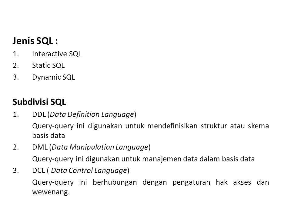 PENGELOMPOKAN STATEMEN SQL 1.
