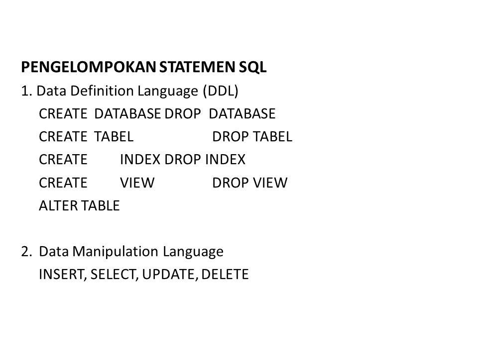 3.Data Access GRANT, REVOKE 4. Data Integrity RECOVER TABLE 5.