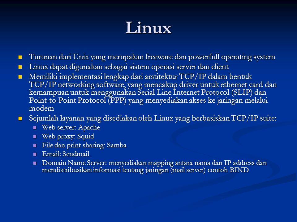 Novell Netware Dahulu digunakan sebagai LAN-based network operating system Dahulu digunakan sebagai LAN-based network operating system Dibuat oleh Novell, Inc.