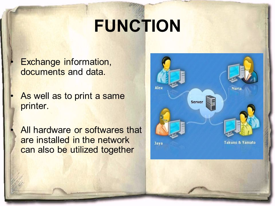 FUNCTION Exchange information, documents and data. As well as to print a same printer. All hardware or softwares that are installed in the network can