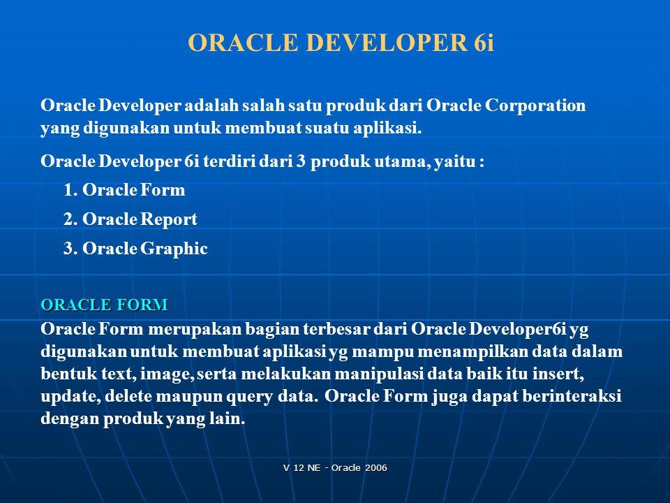 V 12 NE - Oracle 2006 ORACLE DEVELOPER 6i Oracle Developer adalah salah satu produk dari Oracle Corporation yang digunakan untuk membuat suatu aplikas