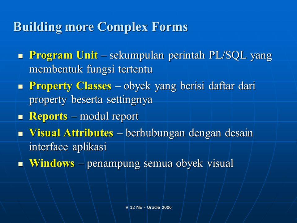 V 12 NE - Oracle 2006 Program Unit – sekumpulan perintah PL/SQL yang membentuk fungsi tertentu Program Unit – sekumpulan perintah PL/SQL yang membentu