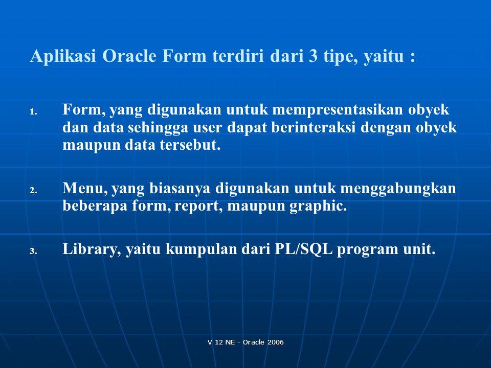 V 12 NE - Oracle 2006 1. 1. Form, yang digunakan untuk mempresentasikan obyek dan data sehingga user dapat berinteraksi dengan obyek maupun data terse