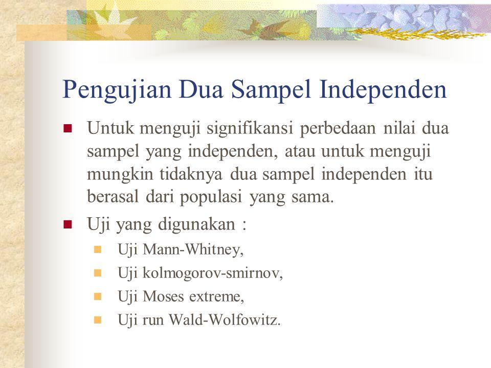 Pengujian Dua Sampel Independen Untuk menguji signifikansi perbedaan nilai dua sampel yang independen, atau untuk menguji mungkin tidaknya dua sampel independen itu berasal dari populasi yang sama.