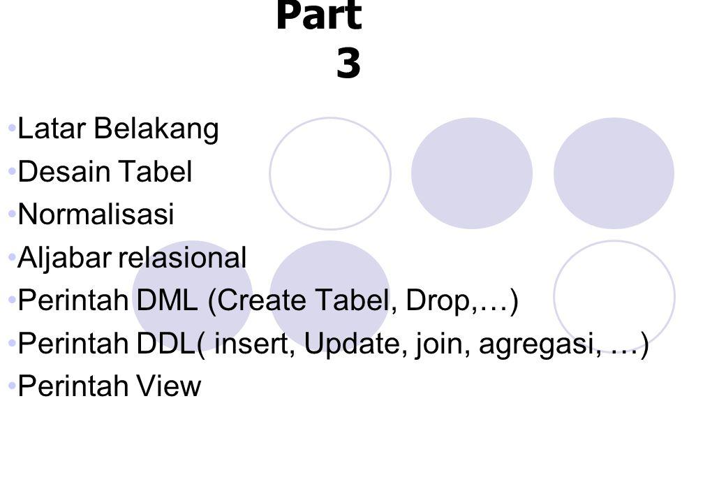 SQL Part 3 Latar Belakang Desain Tabel Normalisasi Aljabar relasional Perintah DML (Create Tabel, Drop,…) Perintah DDL( insert, Update, join, agregasi