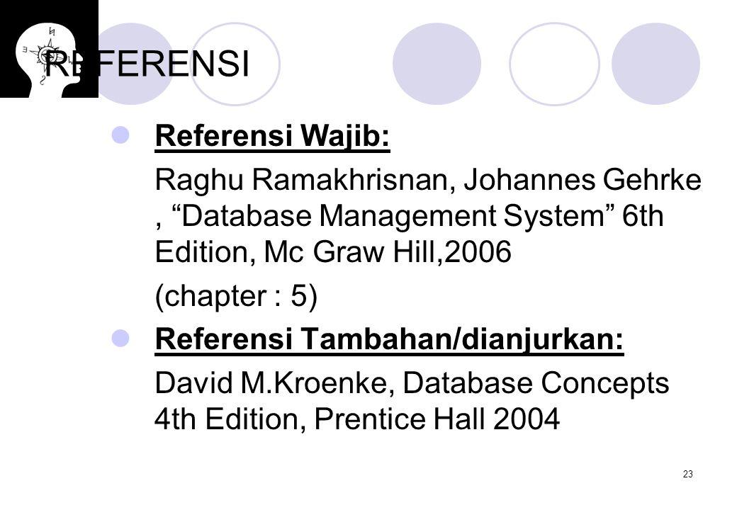 "23 REFERENSI Referensi Wajib: Raghu Ramakhrisnan, Johannes Gehrke, ""Database Management System"" 6th Edition, Mc Graw Hill,2006 (chapter : 5) Referensi"