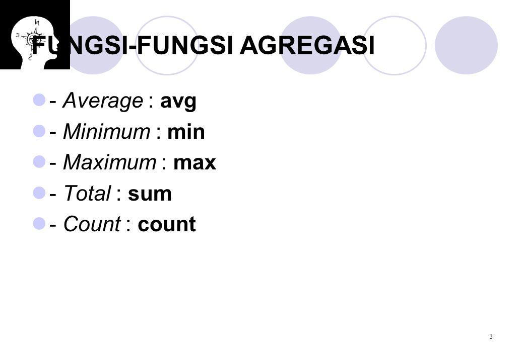 3 FUNGSI-FUNGSI AGREGASI - Average : avg - Minimum : min - Maximum : max - Total : sum - Count : count