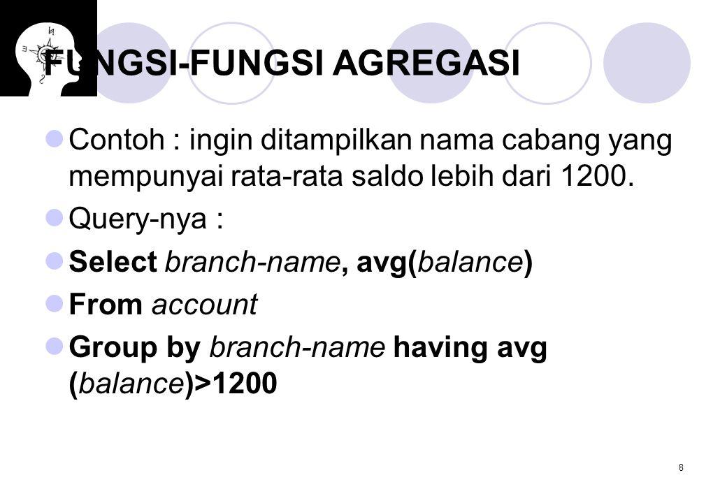 8 FUNGSI-FUNGSI AGREGASI Contoh : ingin ditampilkan nama cabang yang mempunyai rata-rata saldo lebih dari 1200. Query-nya : Select branch-name, avg(ba