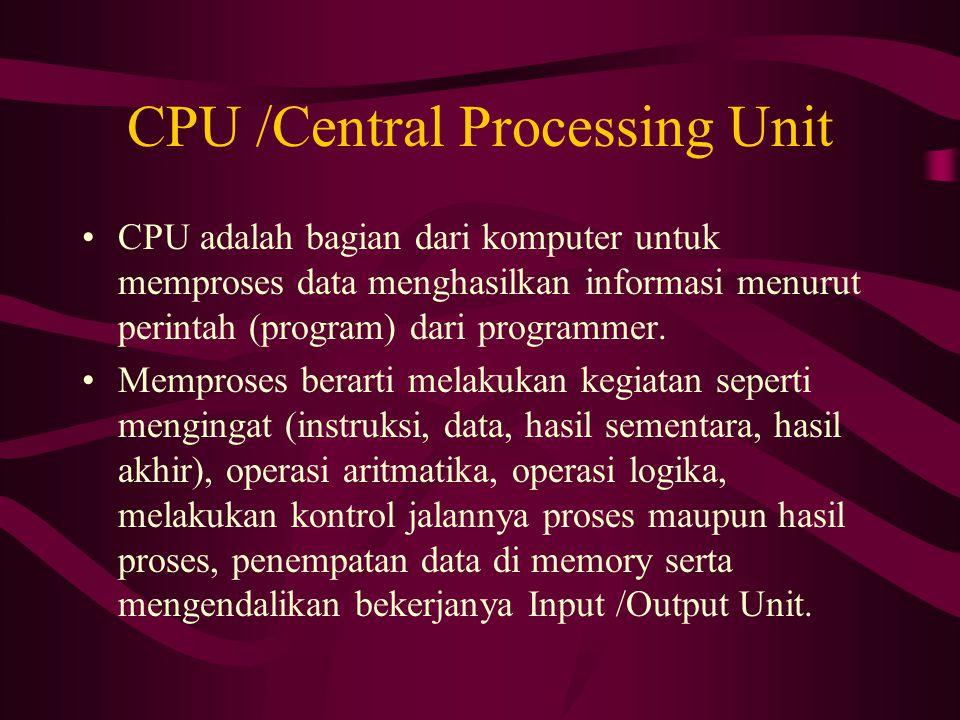 CPU /Central Processing Unit CPU adalah bagian dari komputer untuk memproses data menghasilkan informasi menurut perintah (program) dari programmer.