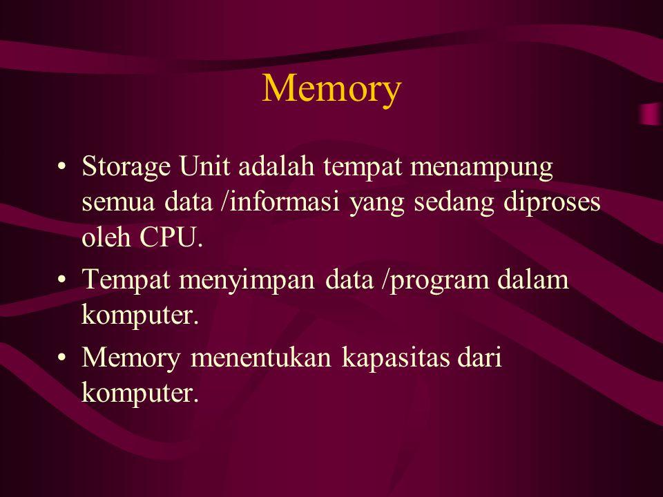 Memory Storage Unit adalah tempat menampung semua data /informasi yang sedang diproses oleh CPU.
