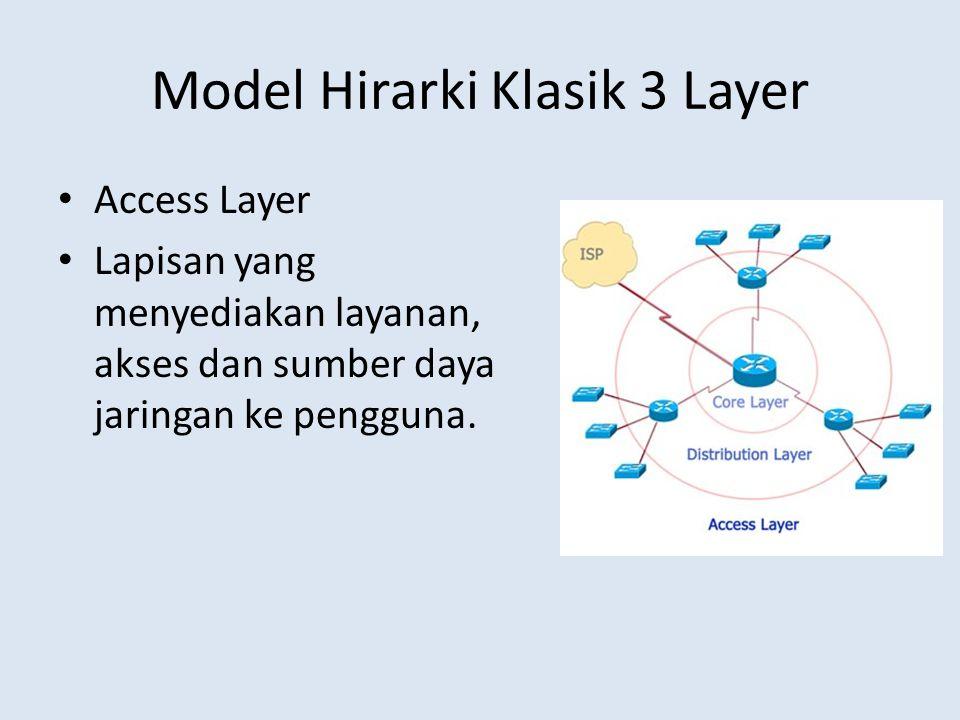 Model Hirarki Klasik 3 Layer Access Layer Lapisan yang menyediakan layanan, akses dan sumber daya jaringan ke pengguna.