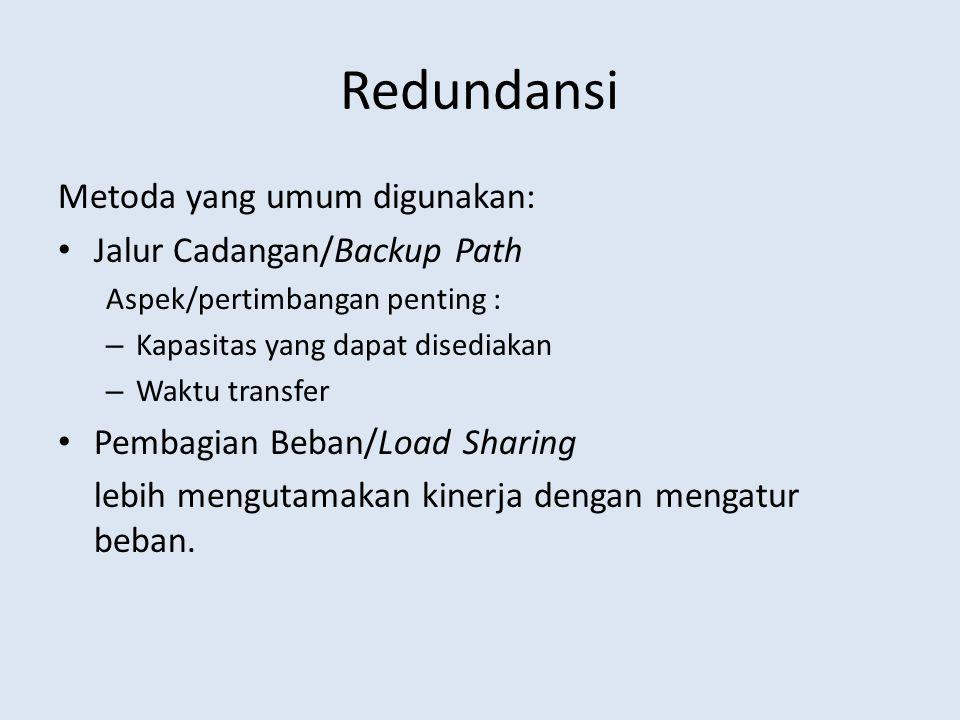 Redundansi Metoda yang umum digunakan: Jalur Cadangan/Backup Path Aspek/pertimbangan penting : – Kapasitas yang dapat disediakan – Waktu transfer Pemb