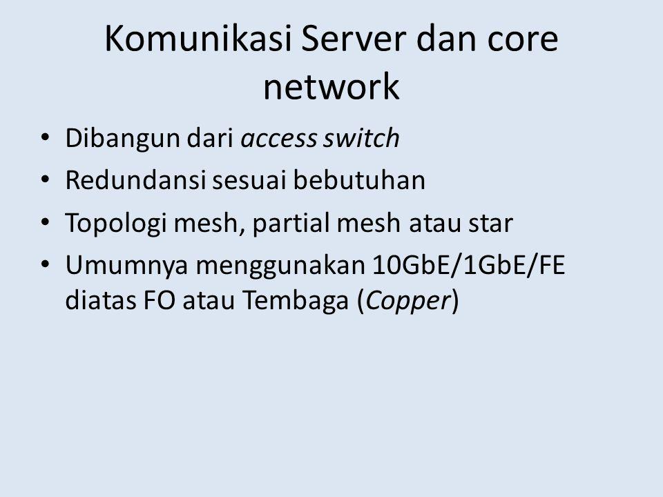 Komunikasi Server dan core network Dibangun dari access switch Redundansi sesuai bebutuhan Topologi mesh, partial mesh atau star Umumnya menggunakan 1