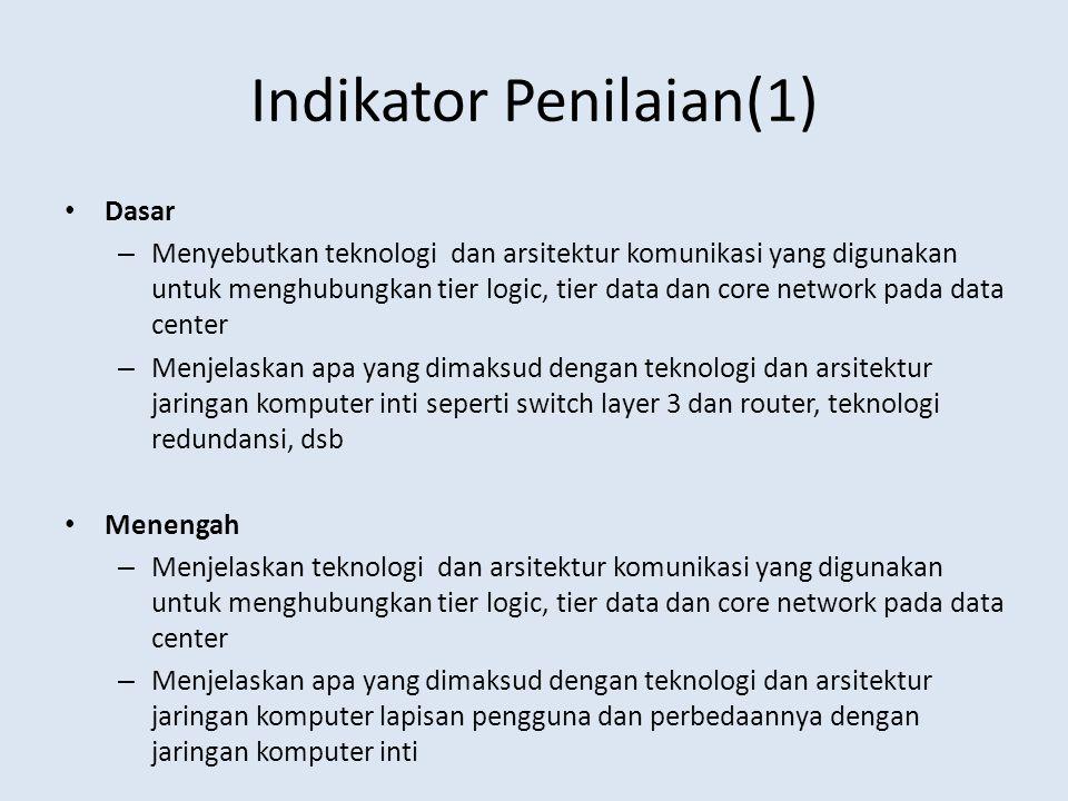 Indikator Penilaian (2) Mahir – Memilih teknologi dan arsitektur komunikasi yang digunakan pada data center pada suatu kasus – Menjelaskan perbedaan karakteristik dan penggunaan switch layer 3 dan router