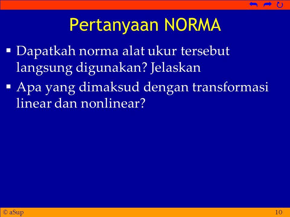 © aSup   Pertanyaan NORMA  Dapatkah norma alat ukur tersebut langsung digunakan.