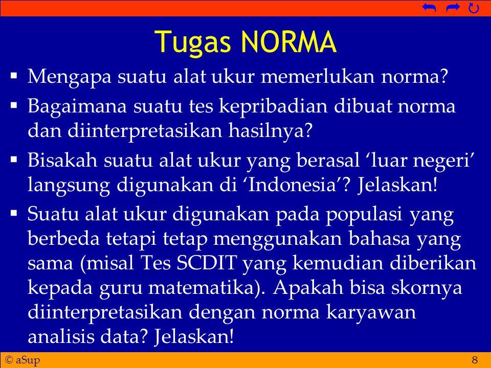 © aSup   Tugas NORMA  Mengapa suatu alat ukur memerlukan norma.