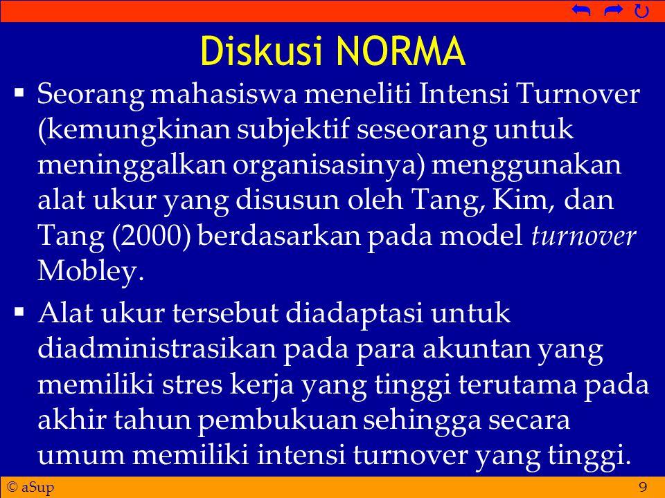 © aSup   Diskusi NORMA  Seorang mahasiswa meneliti Intensi Turnover (kemungkinan subjektif seseorang untuk meninggalkan organisasinya) menggunakan alat ukur yang disusun oleh Tang, Kim, dan Tang (2000) berdasarkan pada model turnover Mobley.