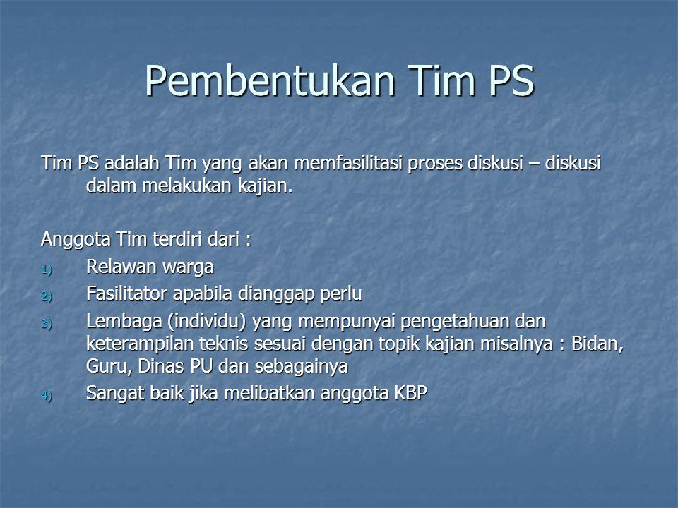 Pembentukan Tim PS Tim PS adalah Tim yang akan memfasilitasi proses diskusi – diskusi dalam melakukan kajian. Anggota Tim terdiri dari : 1) Relawan wa