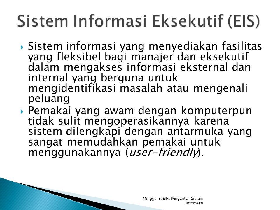  Sistem informasi yang menyediakan fasilitas yang fleksibel bagi manajer dan eksekutif dalam mengakses informasi eksternal dan internal yang berguna