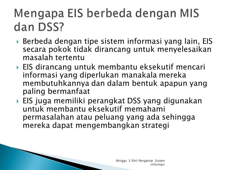  Berbeda dengan tipe sistem informasi yang lain, EIS secara pokok tidak dirancang untuk menyelesaikan masalah tertentu  EIS dirancang untuk membantu