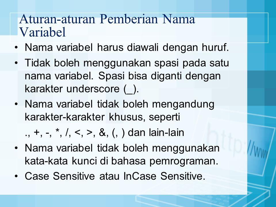Aturan-aturan Pemberian Nama Variabel Nama variabel harus diawali dengan huruf.