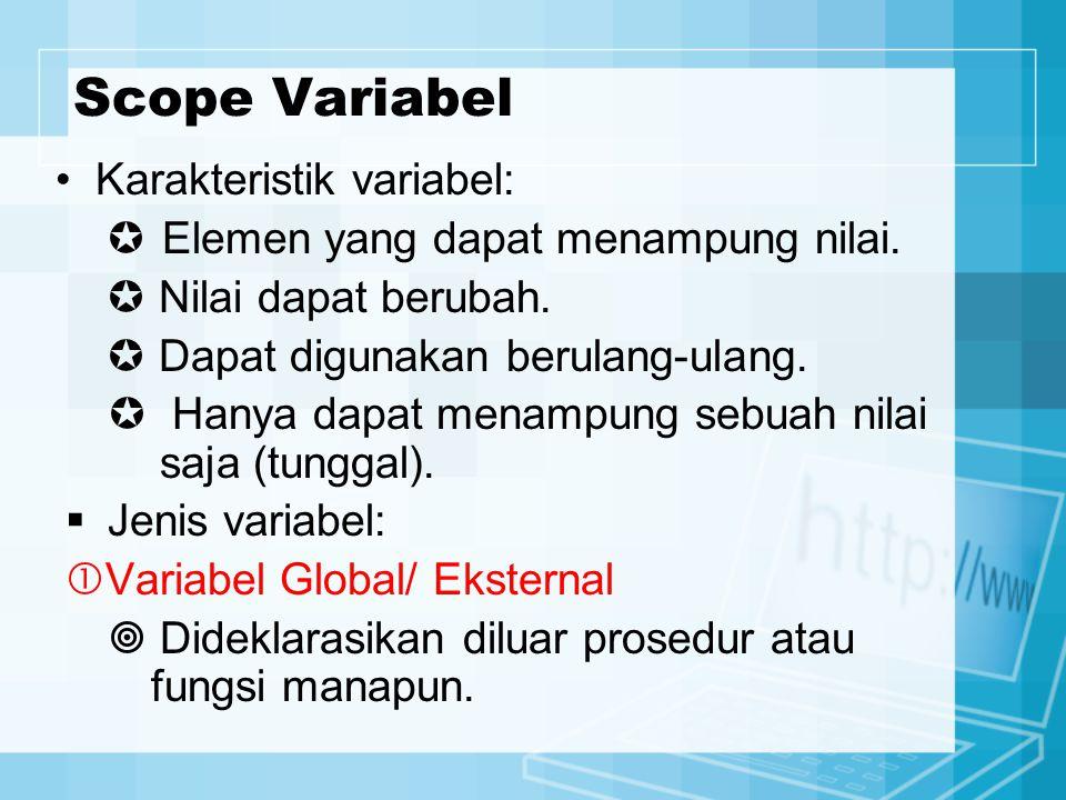 Scope Variabel Karakteristik variabel:  Elemen yang dapat menampung nilai.  Nilai dapat berubah.  Dapat digunakan berulang-ulang.  Hanya dapat men