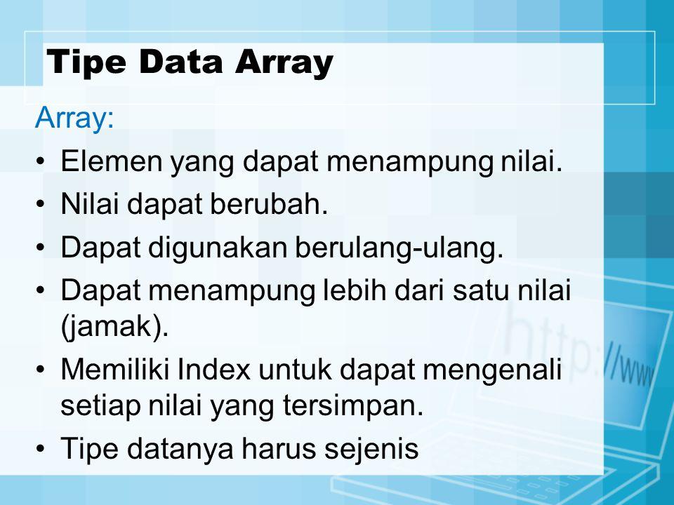 Tipe Data Array Array: Elemen yang dapat menampung nilai. Nilai dapat berubah. Dapat digunakan berulang-ulang. Dapat menampung lebih dari satu nilai (