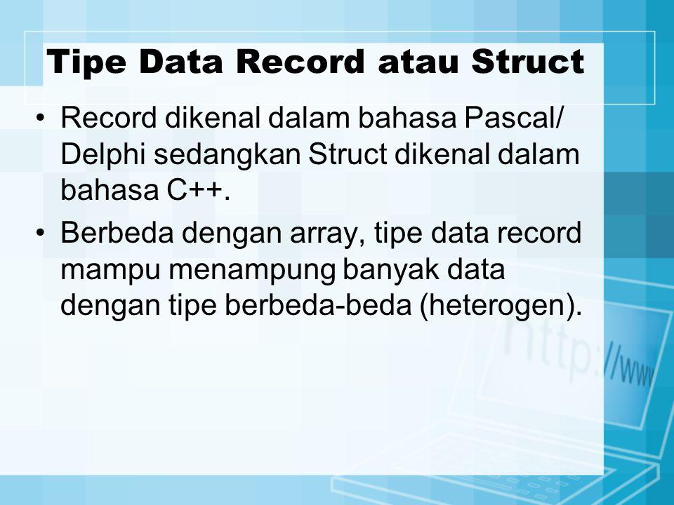Tipe Data Record atau Struct Record dikenal dalam bahasa Pascal/ Delphi sedangkan Struct dikenal dalam bahasa C++.