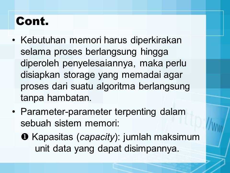 Cont. Kebutuhan memori harus diperkirakan selama proses berlangsung hingga diperoleh penyelesaiannya, maka perlu disiapkan storage yang memadai agar p