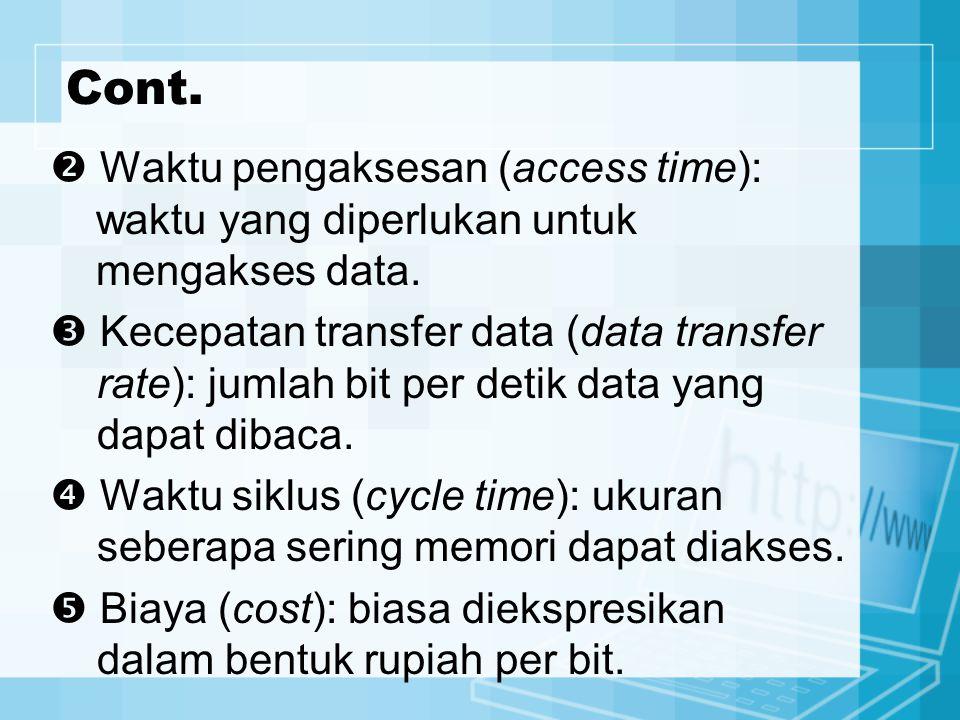 Cont.  Waktu pengaksesan (access time): waktu yang diperlukan untuk mengakses data.  Kecepatan transfer data (data transfer rate): jumlah bit per de