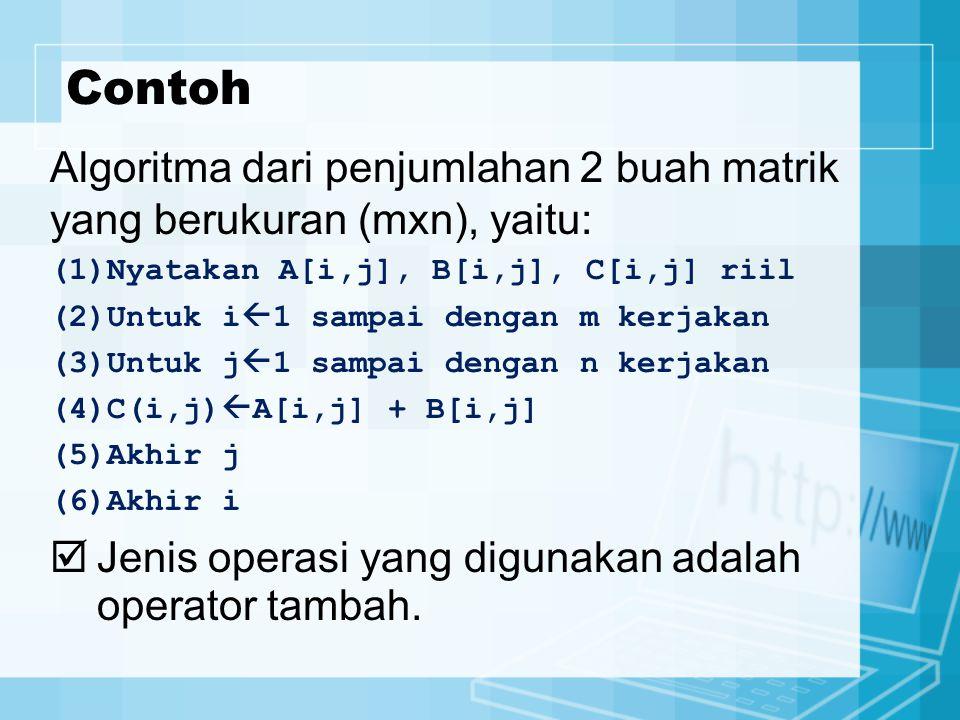 Contoh Algoritma dari penjumlahan 2 buah matrik yang berukuran (mxn), yaitu: (1)Nyatakan A[i,j], B[i,j], C[i,j] riil (2)Untuk i  1 sampai dengan m kerjakan (3)Untuk j  1 sampai dengan n kerjakan (4)C(i,j)  A[i,j] + B[i,j] (5)Akhir j (6)Akhir i  Jenis operasi yang digunakan adalah operator tambah.