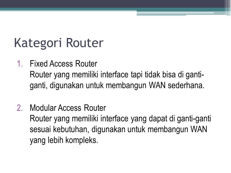 Kategori Router 1.Fixed Access Router Router yang memiliki interface tapi tidak bisa di ganti- ganti, digunakan untuk membangun WAN sederhana. 2.Modul