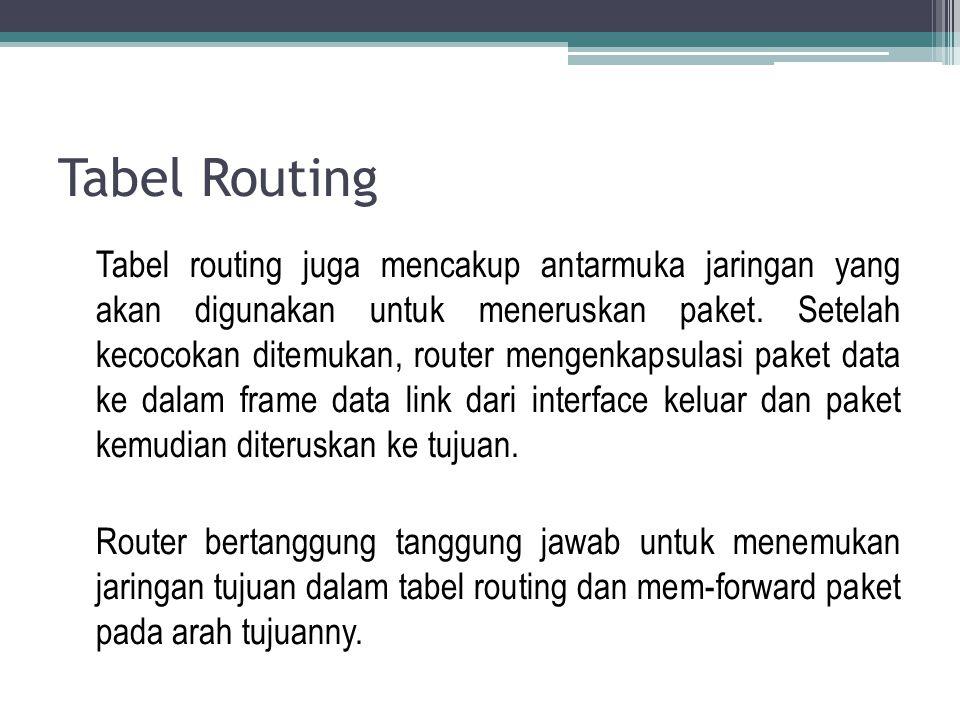 Tabel Routing Tabel routing juga mencakup antarmuka jaringan yang akan digunakan untuk meneruskan paket. Setelah kecocokan ditemukan, router mengenkap
