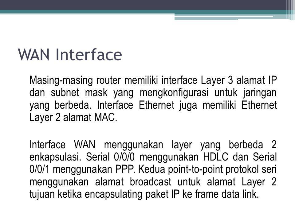 WAN Interface Masing-masing router memiliki interface Layer 3 alamat IP dan subnet mask yang mengkonfigurasi untuk jaringan yang berbeda. Interface Et