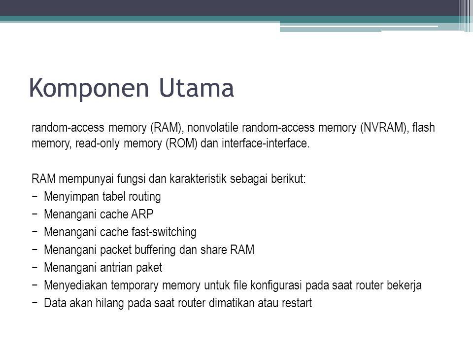 random-access memory (RAM), nonvolatile random-access memory (NVRAM), flash memory, read-only memory (ROM) dan interface-interface. RAM mempunyai fung