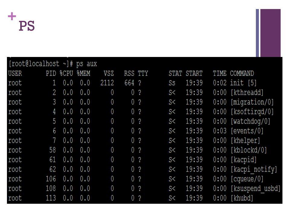 + PS Utilitas ps ini digunakan untuk melihat proses apa saja yang sedang dijalankan system. Sintaks dari utilitas ini: $ ps [option]