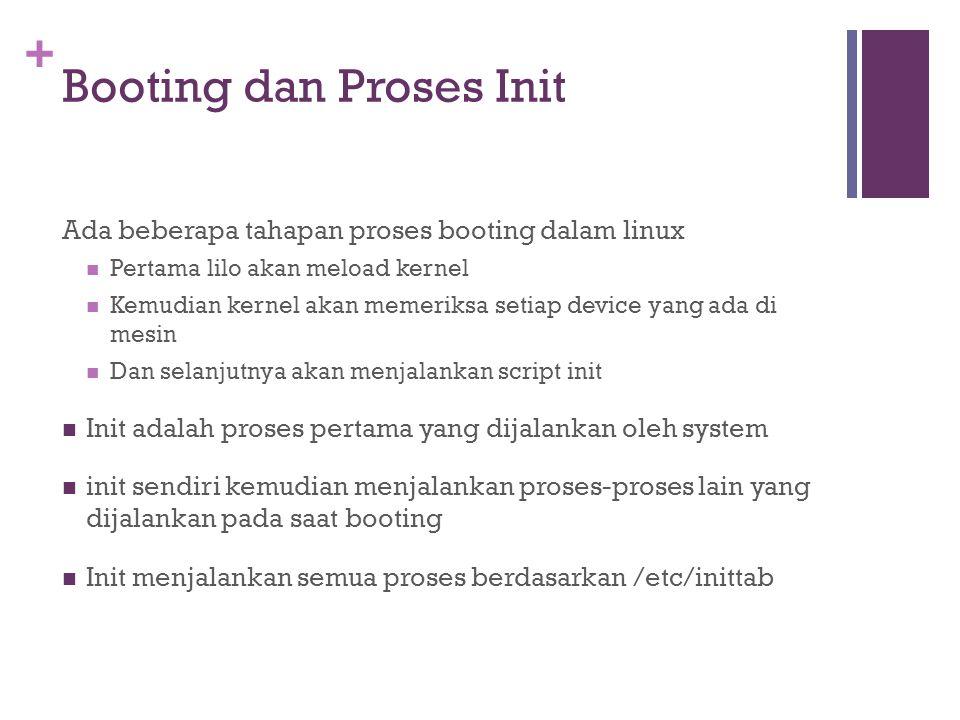 + Booting dan Proses Init Ada beberapa tahapan proses booting dalam linux Pertama lilo akan meload kernel Kemudian kernel akan memeriksa setiap device