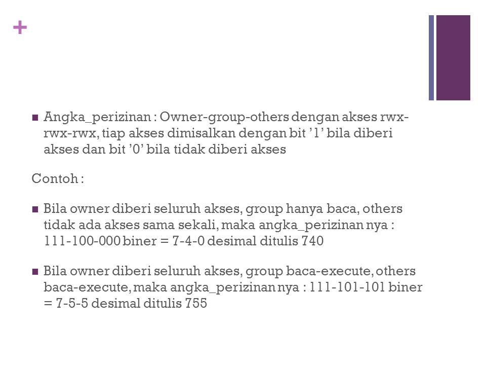 + Angka_perizinan : Owner-group-others dengan akses rwx- rwx-rwx, tiap akses dimisalkan dengan bit '1' bila diberi akses dan bit '0' bila tidak diberi