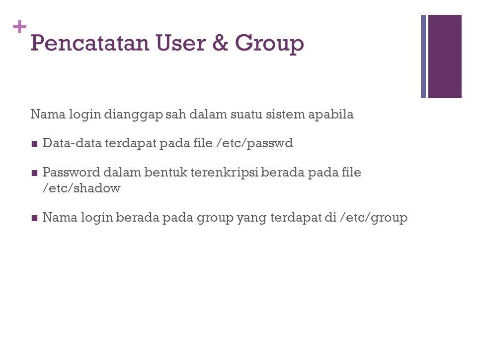 + /etc/passwd Bagian-bagian baris dalam /etc/passwd : miko:x:502:502:user1:/home/miko:/bin/bash miko : nama login user tertentu x : password yang dienkripsi, disimpan di file /etc/shadow 500 : nomor UID (User ID) 500 : nomor GID (Group ID) user1 : komentar atau deskripsi nama login /home/miko : direktori home untuk user anton /bin/bash : default shell yang digunakan