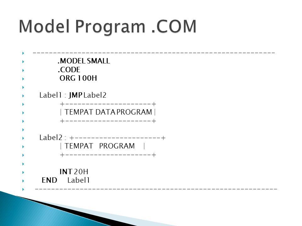  ----------------------------------------------------------- .MODEL SMALL .CODE  ORG 100H   Label1 : JMP Label2  +---------------------+  | TEMPAT DATA PROGRAM |  +---------------------+   Label2 : +---------------------+  | TEMPAT PROGRAM |  +---------------------+   INT 20H  END Label1  -----------------------------------------------------------