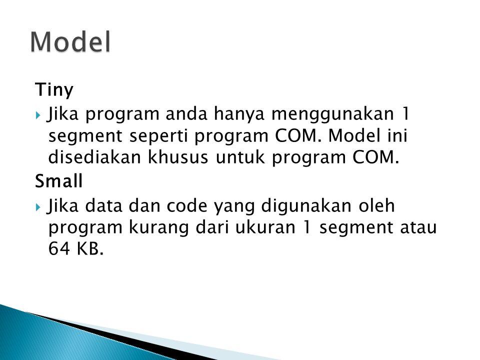 Tiny  Jika program anda hanya menggunakan 1 segment seperti program COM.