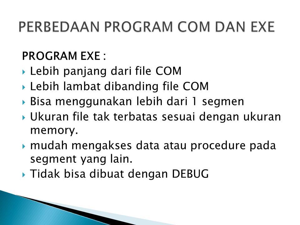 PROGRAM EXE :  Lebih panjang dari file COM  Lebih lambat dibanding file COM  Bisa menggunakan lebih dari 1 segmen  Ukuran file tak terbatas sesuai dengan ukuran memory.