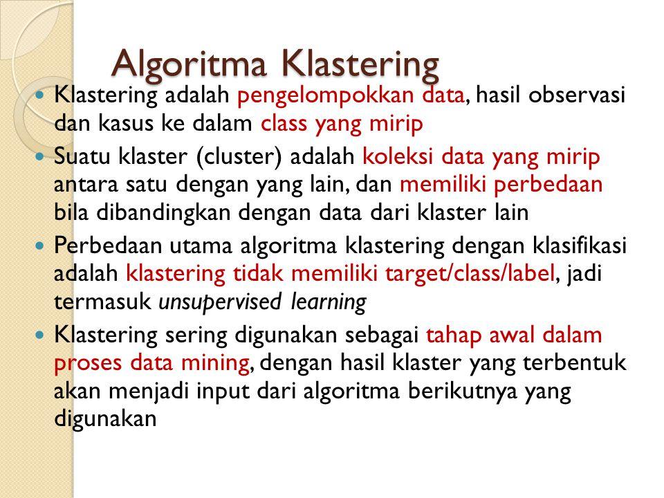 Algoritma Klastering Klastering adalah pengelompokkan data, hasil observasi dan kasus ke dalam class yang mirip Suatu klaster (cluster) adalah koleksi
