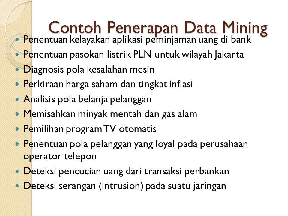 Contoh Penerapan Data Mining Penentuan kelayakan aplikasi peminjaman uang di bank Penentuan pasokan listrik PLN untuk wilayah Jakarta Diagnosis pola k