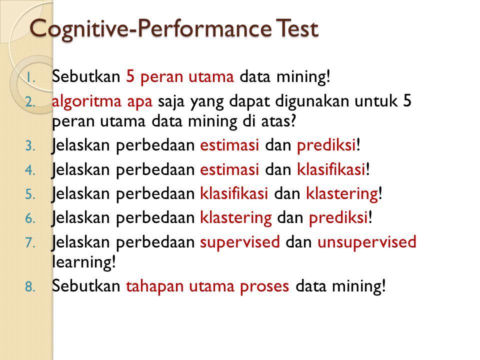 Cognitive-Performance Test 1. Sebutkan 5 peran utama data mining! 2. algoritma apa saja yang dapat digunakan untuk 5 peran utama data mining di atas?