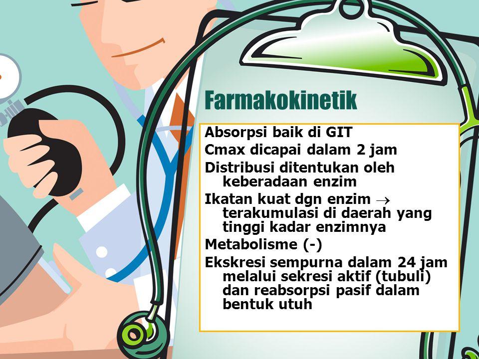 Farmakokinetik Absorpsi baik di GIT Cmax dicapai dalam 2 jam Distribusi ditentukan oleh keberadaan enzim Ikatan kuat dgn enzim  terakumulasi di daera