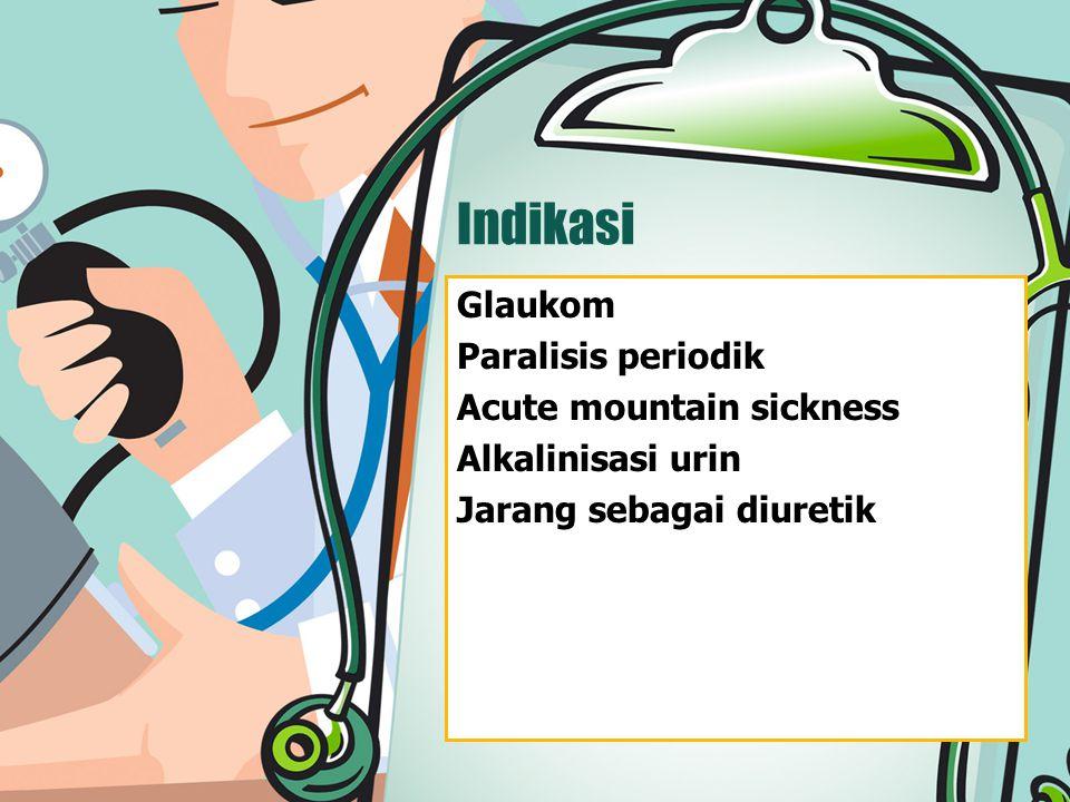 Indikasi Glaukom Paralisis periodik Acute mountain sickness Alkalinisasi urin Jarang sebagai diuretik