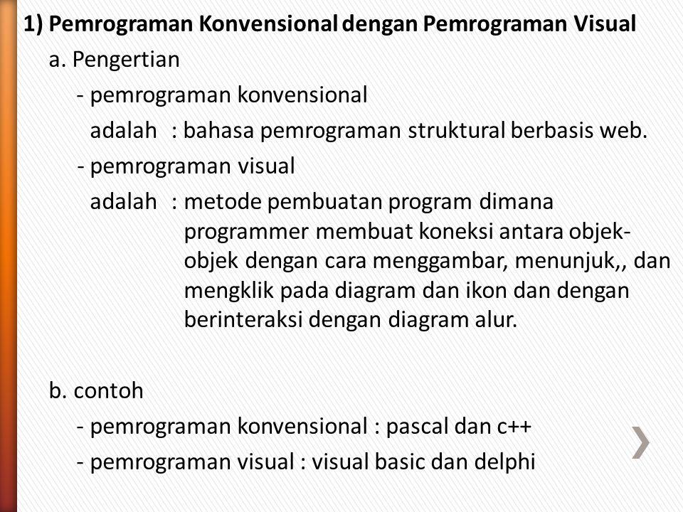 1) Pemrograman Konvensional dengan Pemrograman Visual a.