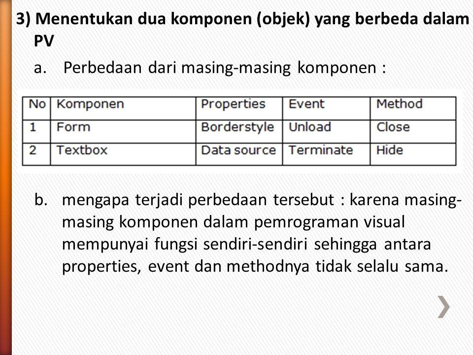 3) Menentukan dua komponen (objek) yang berbeda dalam PV a.Perbedaan dari masing-masing komponen : b.mengapa terjadi perbedaan tersebut : karena masing- masing komponen dalam pemrograman visual mempunyai fungsi sendiri-sendiri sehingga antara properties, event dan methodnya tidak selalu sama.